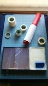 サンドブラスト「作業中」置物ミラー台(彫り前養生)