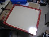 サンドブラストBOX(赤キャビ)覗き窓(カット・穴開け)
