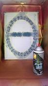 サンドブラスト「作業中」(退官記念額縁ミラー)塗装養生