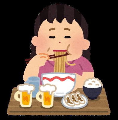 syokuji_tabesugi_woman