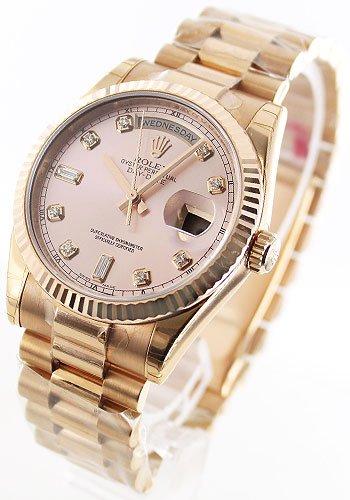 [ロレックス]ROLEX 腕時計 ロレックスG オイスターパーペチュアル デイデイト PG金無垢 ダイヤインデックス ピンク Ref.118235 メンズ [並行輸入品]