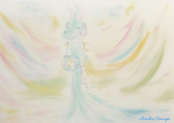 光の玉と虹色の翼