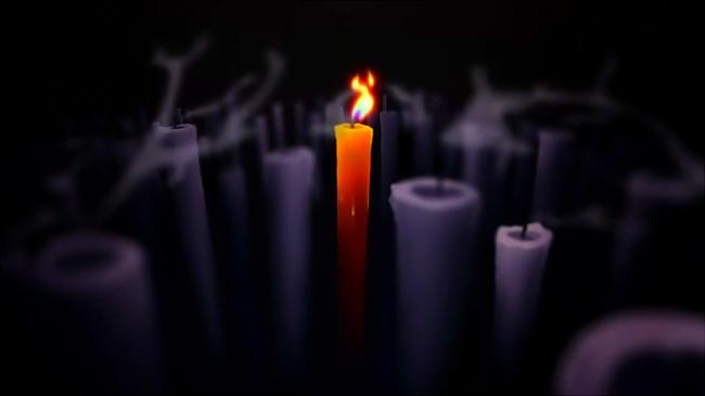 映像の1コマの蝋燭
