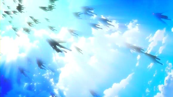矢のように空に飛んでいく兵士達