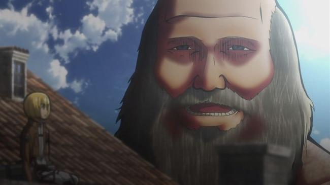 アルミンを飲み込もうとした巨人