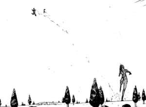 女型に蹴り飛ばされる調査兵団と馬