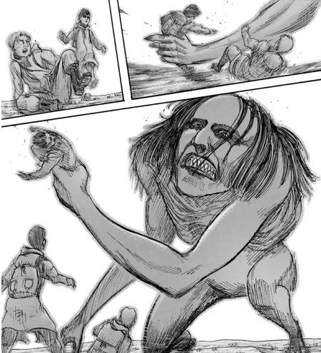 ユミル似の巨人に襲われるライナー・ベルトルト・謎の少年