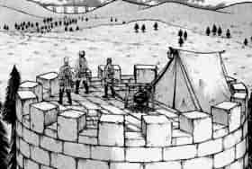 近くの塔の屋上でテントを張っている調査兵団