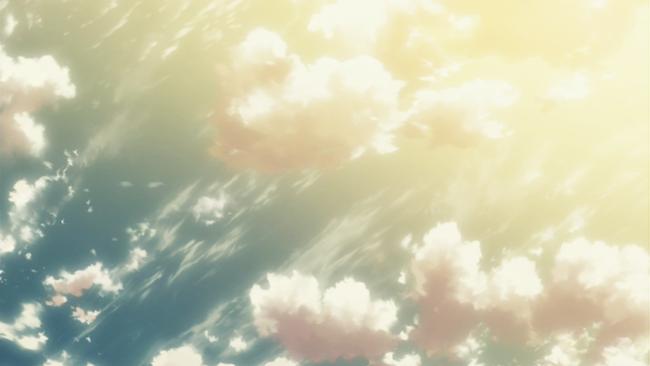 太陽が沈んできた空