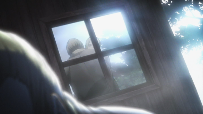 回想で窓の反射越しに