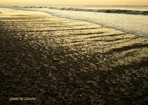 朝の渚にて