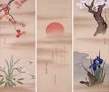 酒井抱一《朝陽に四季草花図》絹本着色 三幅対 文政4-11年(1821-28)