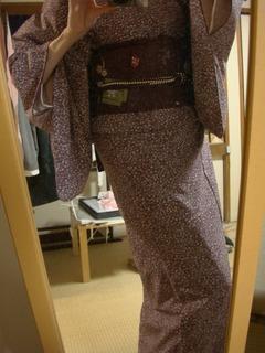 Maroon Genji Incense Motif Nagoya Obi