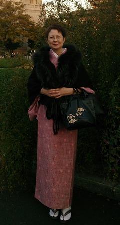 pink tsumugi kimono