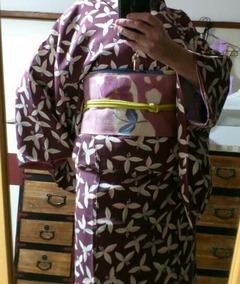 Maroon Komono with Pink Tsujigahana obi