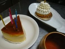 チーズケーキとロウソク