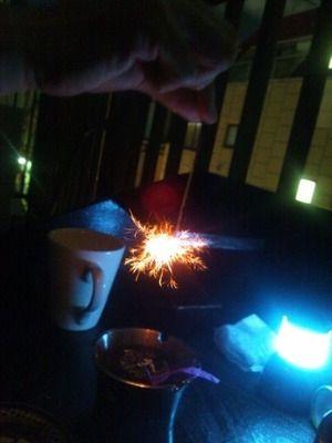 テラスで線香花火