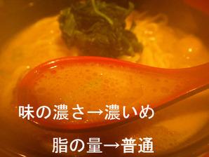 味の濃さ→濃いめ、脂の量→普通