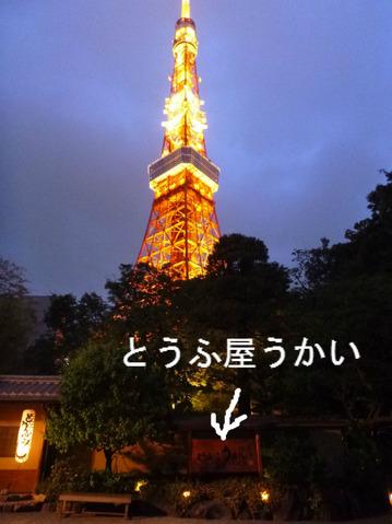 「とうふ屋うかい」から望む、東京タワー