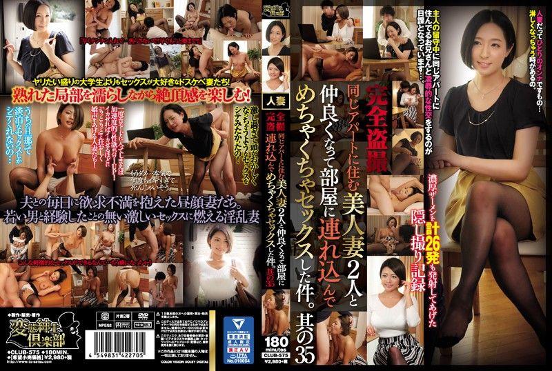 【club00575】完全盗撮 同じアパートに住む美人妻2人と仲良くなって部屋に連れ込んでめちゃくちゃセックスした件。其の35