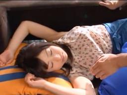 ソファーでお昼寝してしまった好きな美少女に襲いかかる!