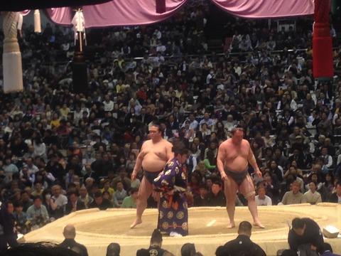 初、相撲観戦