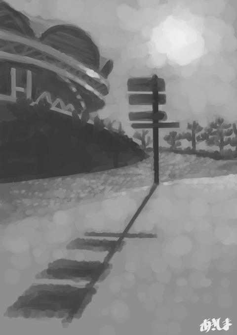 習作010トーン背景:スタジアムポールの影A4