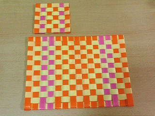 格子編みコースター&ランチョンマット1