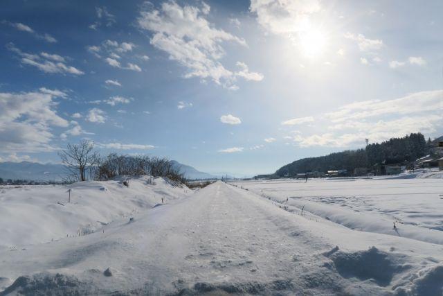 真っすぐに伸びる雪道