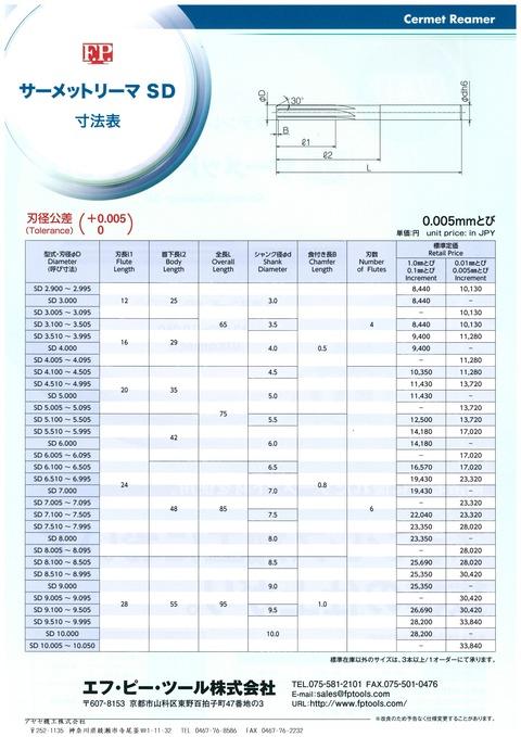 エフピーツール ステンレス加工用サーメットリーマSD (2)
