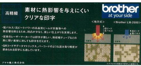 ブラザー工業㈱ 高精細YAGレーザーマーカーLM2500 (特徴)