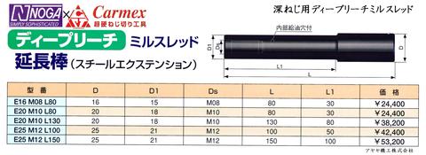 ノガ カーメックス 深ねじ用ディープリーチミルスレッド (型式3)
