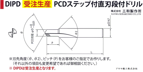 ㈱三和製作所 PCDドリル チップ アヤセ機工 - 受注生産
