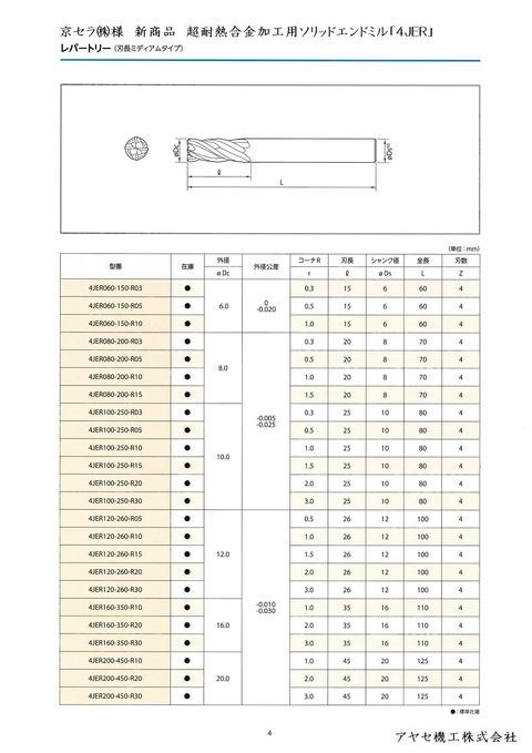 京セラ超耐熱合金加工用ソリッドエンドミル4JER