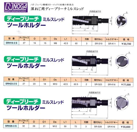 ノガ カーメックス 深ねじ用ディープリーチミルスレッド (型式1)