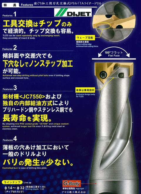 ダイジェット 座ぐり加工用刃先交換式 TAライタードリル  (5)