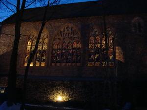 夕闇の中の那須ステンドグラス美術館