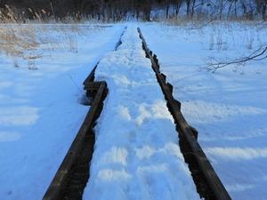雪どけの大沼