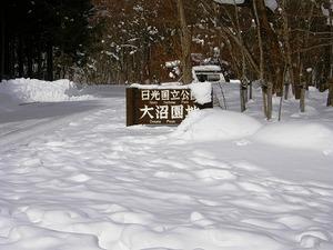 大沼公園入り口は雪に埋もれて
