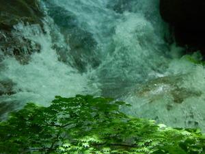滝しぶきと青紅葉