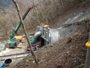 トンネル工事が見えます