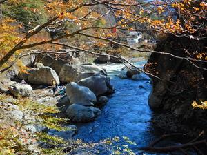 天狗岩と箒川