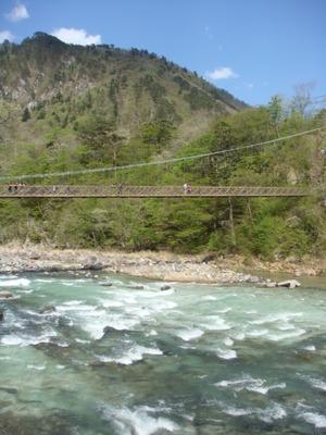 箒川、七ツ岩つり橋、天狗岩