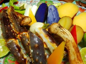 タラバガニと松茸の炭火焼き
