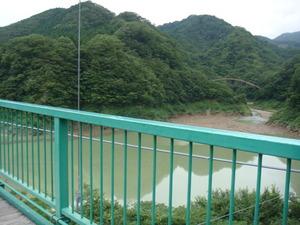 増水したもみじ谷大つり橋のダム湖