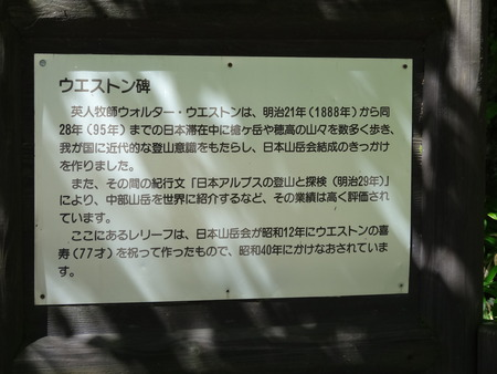 ウエストン碑の説明