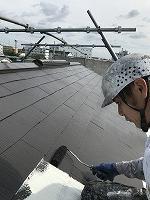 9-13大屋根サーモアイ4Fフッ素上塗り1回目塗装(2)