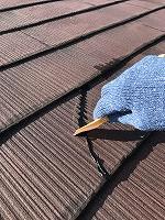 9-13大屋根、変性シリコンクラック補修作業(2)