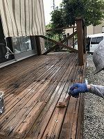 ウッドデッキ上塗りガードラックPROステイン塗布1回目 (6)