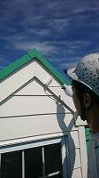 6-13外壁4Fフッ素付帯部上塗り塗装1回目1